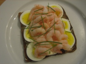 SHRIMP AND EGG OPEN FACED SANDWICHES