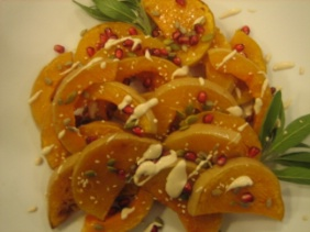 ROASTED BUTTERNUT WITH SEEDS AND POMEGRANATE DRIZZLE
