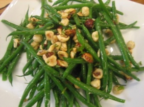 GREEN BEANS WITH BROWN BUTTER AND HAZELNUTS