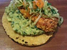 CORNMEAL CRUSTED FISH TACOS WITH GUACAMOLE AND ASIAN SLAW