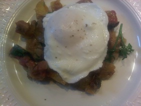 SMOKED MEAT HASH WITH POACHED EGGS