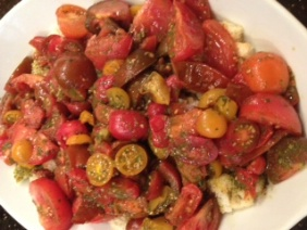 MIXED TOMATO SALAD WITH BASIL OIL