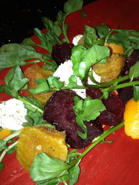 TORN APART BEET SALAD WITH WATERCRESS AND RICOTTA