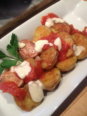 POTATOES BRAVAS WITH SPANISH TOMATO SAUCE AND AIOLI