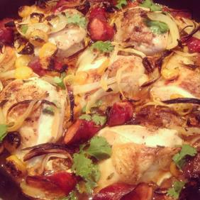 TINA'S ROASTED CHICKEN WITH CHORIZO AND ORANGES