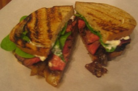 GRILLED STEAK SANDWICHES WITH CARAMELIZED ONIONS AND GORGONZOLA MAYO