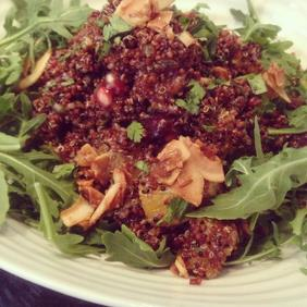 RED QUINOA TABBOULEH WITH CITRUS, POMEGRANATE AND DATES