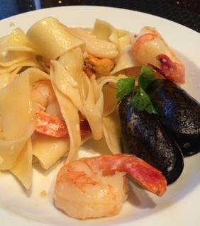 PAPPARDELLE WITH SEAFOOD IN WHITE WINE GARLIC SAUCE