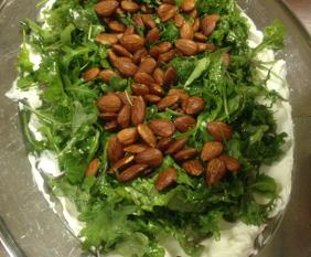 BABY KALE, ROASTED ALMONDS AND LABNEH SALAD