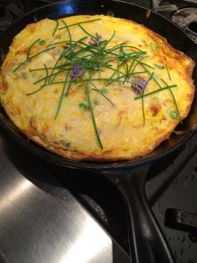MAD MAPLE'S CARAMELIZED ONION AND PEA FRITTATA