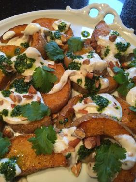 ROASTED BUTTERNUT WITH SMOKED CHILE YOGURT AND CILANTRO