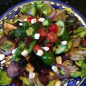 GREEK SALAD WITH GRILLED VEGETABLES AND FETA