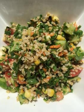 TABBOULEH SALAD WITH GRILLED VEGETABLES AND FRESH HERBS