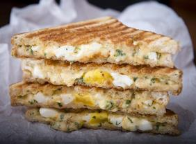 SOUTHWESTERN STYLE POACHED EGG-ON-YOUR-FACE PANINI