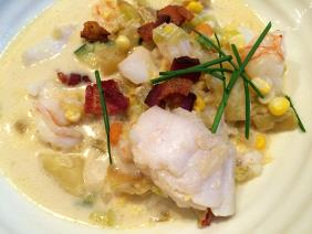 COD, SHRIMP AND VEGETABLE CHOWDER