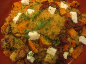 WARM COUSCOUS SALAD<br />WITH SWEET POTATOES AND EGGPLANT