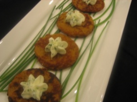 SWEET POTATO PANCAKES (LATKES) WITH CREAM CHEESE AND CHIVE MOUSSE