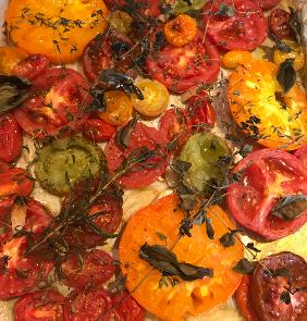 SHEET PAN ROASTED TOMATOES WITH HERBS AND GARLIC