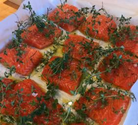 ROASTED ARCTIC CHAR WITH HERBS AND LEMON