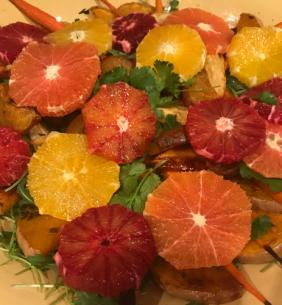 ROASTED BEET AND ORANGE WINTER SALAD WITH POMEGRANATE DRESSING