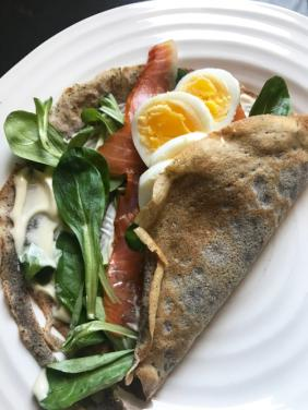 BUCKWHEAT GALETTE (CREPE) WITH SMOKED SALMON AND EGGS