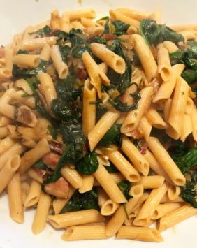 PENNE WITH BACON AND SWISS CHARD