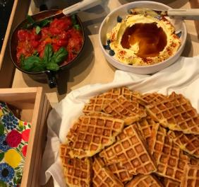 YEAST-RAISED CORNBREAD WAFFLES WITH TOPPINGS