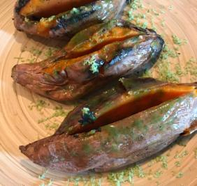 FIRE ROASTED SWEET POTATOES WITH HERB BUTTER