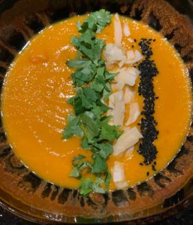 CARROT AND LENTIL SOUP WITH HARISSA AND COCONUT MILK