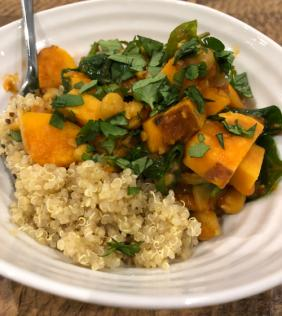 ANNA'S SWEET POTATO, CHICK PEA AND SPINACH STEW