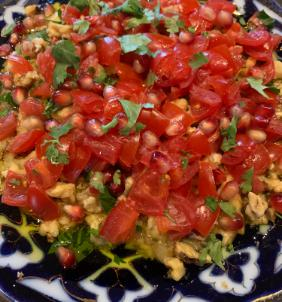 LARA'S SMOKED EGGPLANT 'RAHEB' WITH TOMATOES, WALNUTS AND POMEGRANATE SEEDS