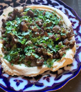 HUMMUS WITH SPICED BEEF FROM SHUK (THE COOKBOOK)