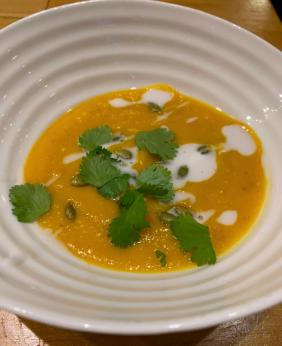 CURRIED PUMPKIN AND LENTIL SOUP WITH ROASTED PUMPKIN SEEDS