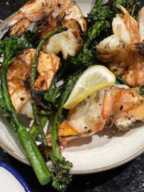 GRILLED SHRIMP WITH GARLIC AND BROCCOLINI