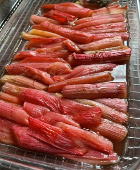 ROASTED RHUBARB WITH MAPLE SYRUP AND VANILLA
