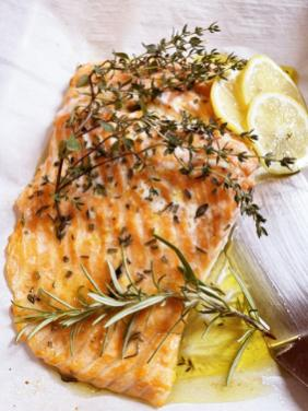 SLOW ROASTED SALMON WITH LEMON AND HERBS